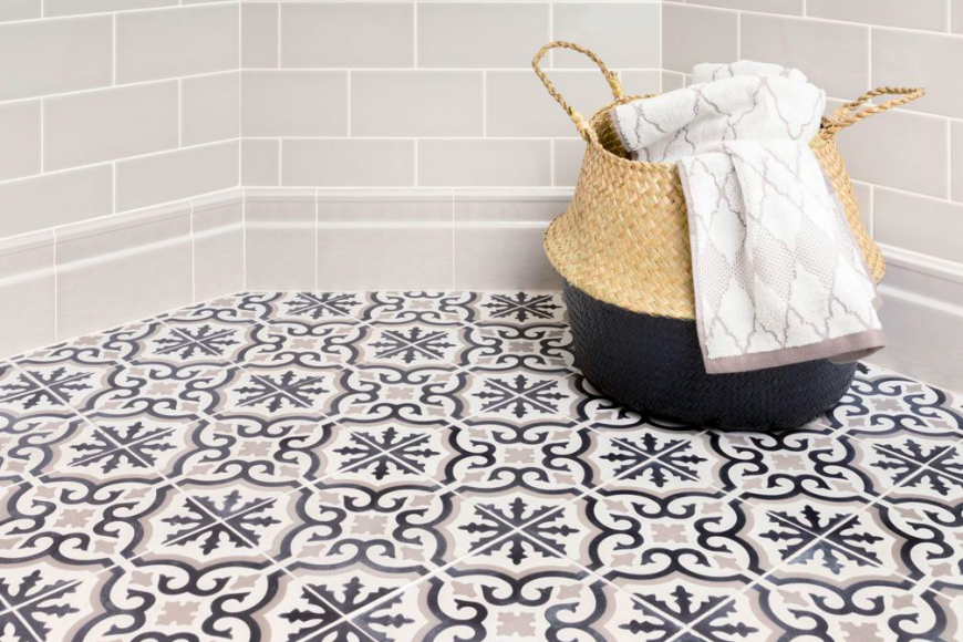 Make A Statement In Bathroom With Tile Floor Homeinawe