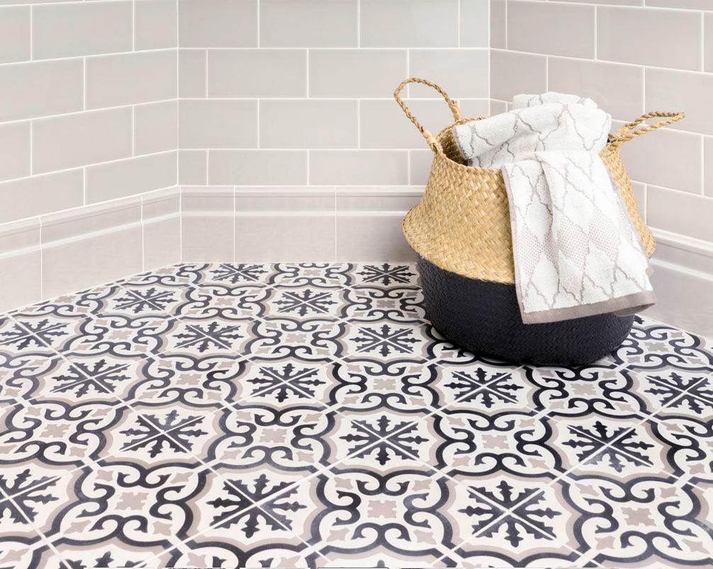 Make A Statement In Bathroom With Tile Floor HomeInAwe - Faux encaustic tile