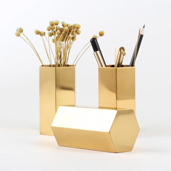 Hexagonal Gold Pencil Holder