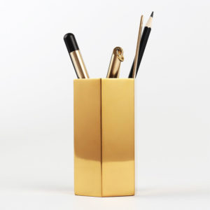 Hexagonal Gold Pencil Holder