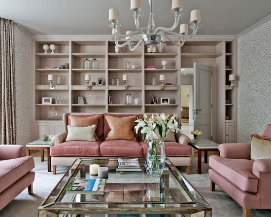 Millennial Pink Open Shelving in Living Room