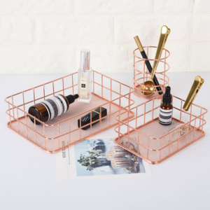 Rose Gold Wire Desk Organizer