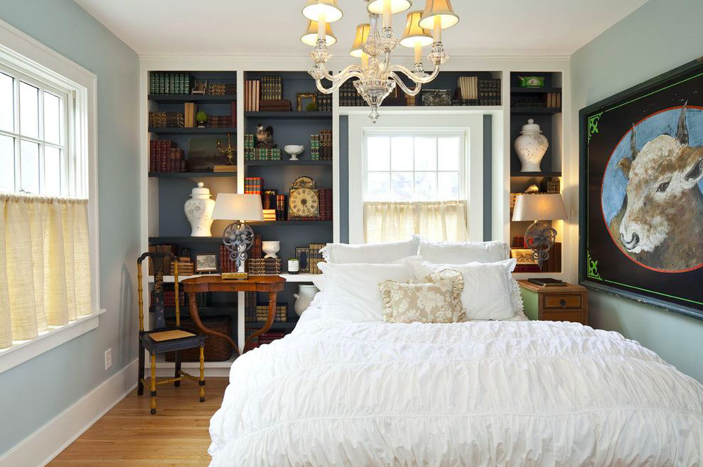 Built-In Shelving Around the Bed